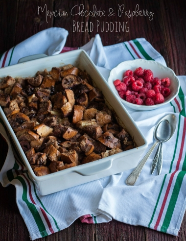 Mexican Chocolate and Raspberry Bread Pudding {and brunch party food tips}