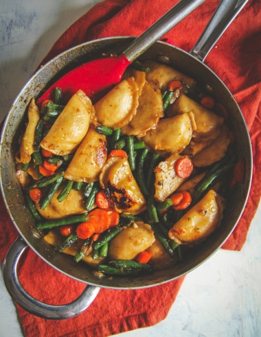 One Pan Vegetarian Dumpling Stir Fry