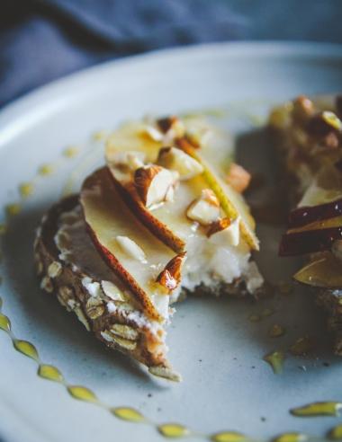 Ricotta Pear Almond Honey Toast