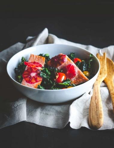 Roasted Kale and Salmon Detox Salad Recipe