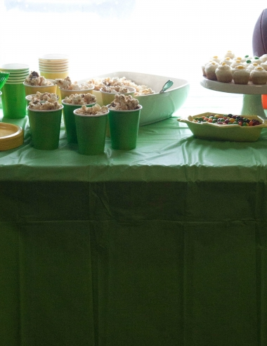 Green & Gold Football Party with Skittles Cupcake and Snickers Popcorn Mix