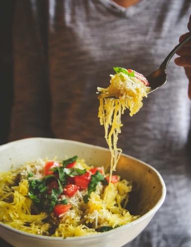 """5 Ingredient Spaghetti Squash Pesto """"Pasta"""" Recipe"""