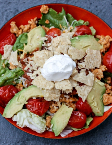20 Minute Turkey Taco Salad with Blistered Tomatoes