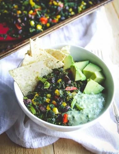 Vegetarian Sheet Pan Dinner (Mexican Kale Salad)