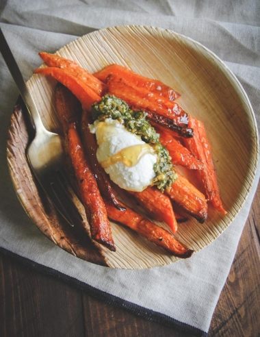Roasted Carrots Topped with Pesto Quark and Honey